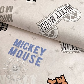 Dekoračná látka Mickey Mouse Movie banner beige digital print