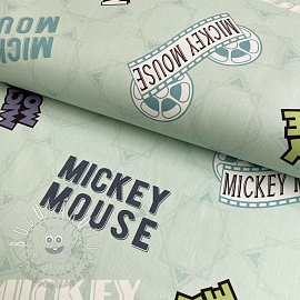 Dekoračná látka Mickey Mouse Movie banner green digital print